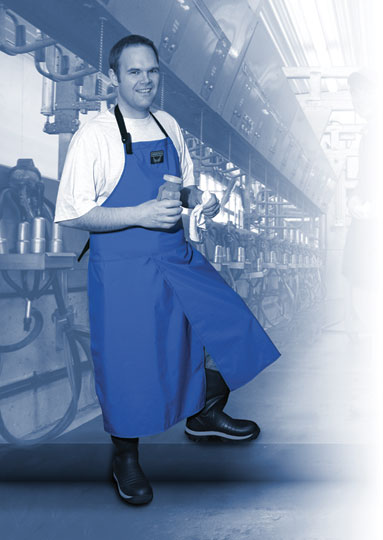 Waterproof apron with slit in front