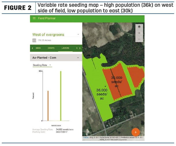 Variable rate seeding map - high opoulation on west side of field