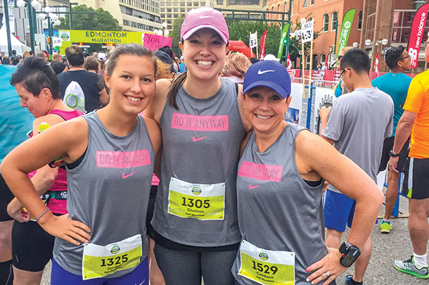 Candace Hill with her stepdaughter Jordan (left) and friend Chelsea (middle) at the Edmonton Marathon in August of 2017