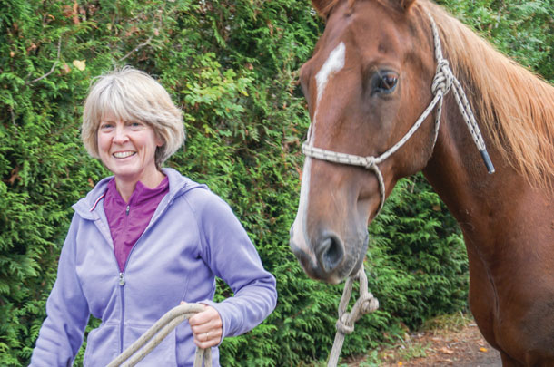 Nancy is involved in training, problem-solving and spends as much time as she can with her horses.