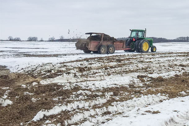 Based on on-farm research, early winter manure applications are less likely to lead to phosphorus loss