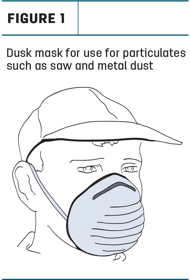 Dusk mask for use for particulates such as saw and metal dust