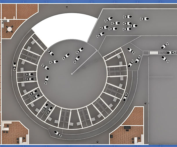 This digital layout shows an overhead design of the milking center.