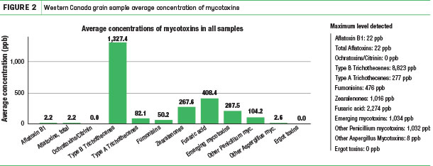 western Canada grain sample average concentration of mycotoxins