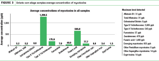 Ontario corn silage samples average concentration of mucotoxins