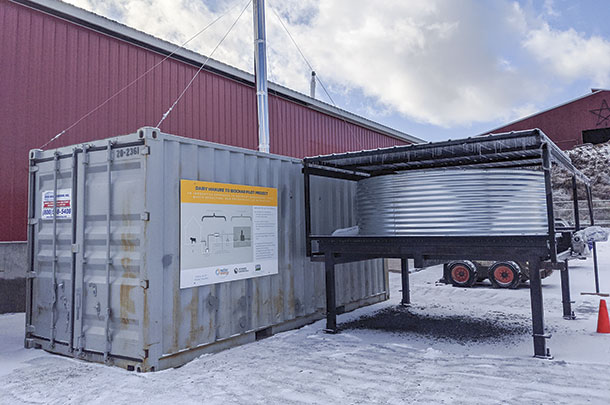 This decentralized refinery by Biomass Controls uses pyrolysis to reduce manure solids into biochar.